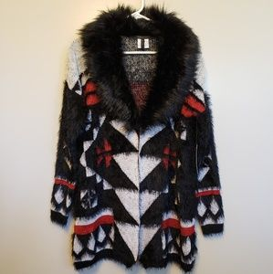 BCBGMaxazria | faux fur Aztec design sweater